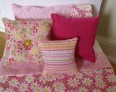 Pink and white 6 piece DOLL BED SET