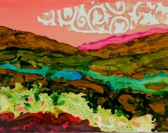 Art Abstract Painting Landscape Ink Painting Mixed Media Surreal Landscape Pink abstract5x7