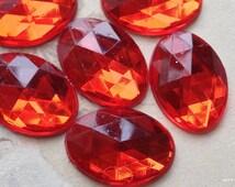 13 x 18 mm Oval Shape Crimson Colour (Silver Base)  Flat Back Acrylic Rhinestone Cabochons(.mnu)