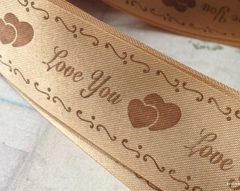 """2 Yards of 1-inch (25 mm) Brown Color """"Love You"""" Fabric Ribbon (.cc)"""