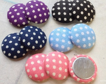 15 mm Assorted Colour Dot Dot Pattern Fabric Button (.tt)