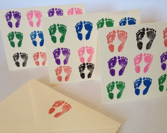 Colorful Footprints on Cream Note Cards - Set of 3