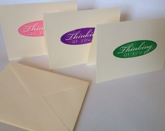 Thinking of You - Pink, Green & Purple - Cream Cards - Set of 3