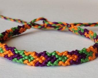 Purple, Green & Orange Links - Friendship Bracelet