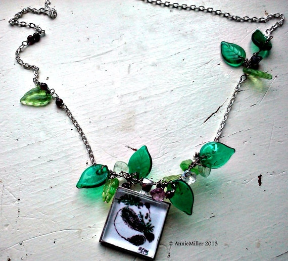Panda on Leafy Branch, Original Art Necklace