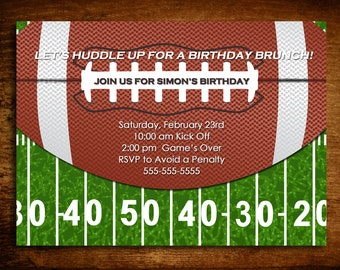 Football Printable Birthday Invite (Digital Image)
