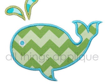 Whale (2) Applique Design - Satin AND Raggy - INSTANT DOWNLOAD