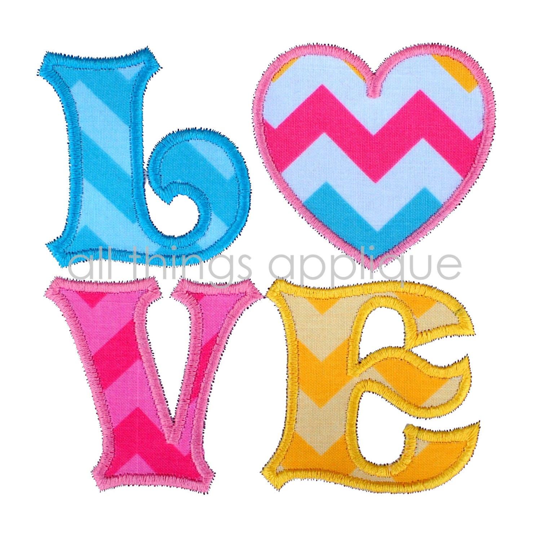 Love heart applique design valentine embroidery