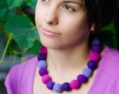 Purple necklace - Radiant Orchid -  Merino wool, felted and crochet beads