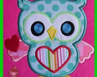 Whooo loves u Owl applique design