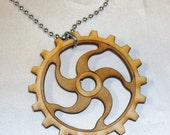 BIRCHWOOD GEAR CIRCULAR Pendant Necklace Bead Chain
