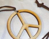 BIRCHWOOD PEACE Pendant Necklace TAN Velvet