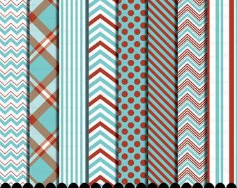 Red and Aqua clip art frame blue clipart digital paper chevron, Polka dot Aqua blue red paper pack : p0218 3s0322 IP
