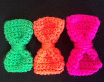 Crochet Hair Bow, Hair Clip Bow, Snap Clip Bow, Crochet Hair Clip, Crochet Bowtie, Infant, Photography Props, Toddler