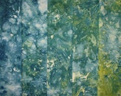 Hand Dyed Ice Dyed Quilt Cotton, Blue to Yellow Green Gradations, Fat Quarter Bundle (MH) #63