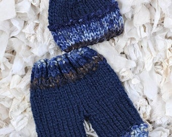 Newborn Baby Shorty knit Navy Blue with a matching Hat Ready to Ship Hand Made Knit Newborn Photography Prop