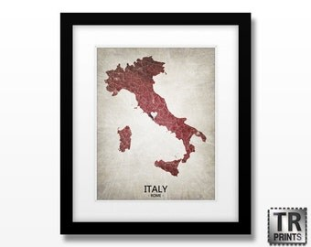 Italy Map - Home Is Where The Heart Is Love Map - Original Custom Map Art Print Available in Multiple Sizes