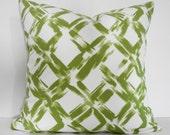 Green Decorative Lattice Throw Pillow, Designer Trellis Pillow Cover, Green, 16 x 16, Cushion Cover