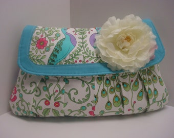 Pretty floral cotton clutch