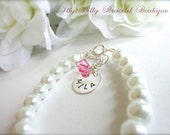 BABY GIRL Pearl Bracelet, Hand Stamped Sterling Silver Charm Personalized New Baby Gift, Keepsake, 1st Pearls, Birthday, FREE Gift Packaging