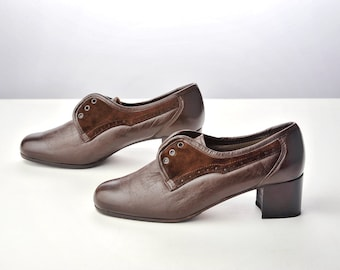 Vintage 40s Brown Leather and Suede Lace Up Shoes / Preppy Oxford Heels Size 6