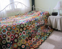 Granny Square Crochet Queen size  Afghan