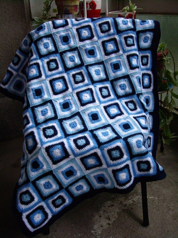 Granny Square Crochet Blanket...Baby Crib Blanket...Baby Boy Knitting Patchwork Lap Afghan...