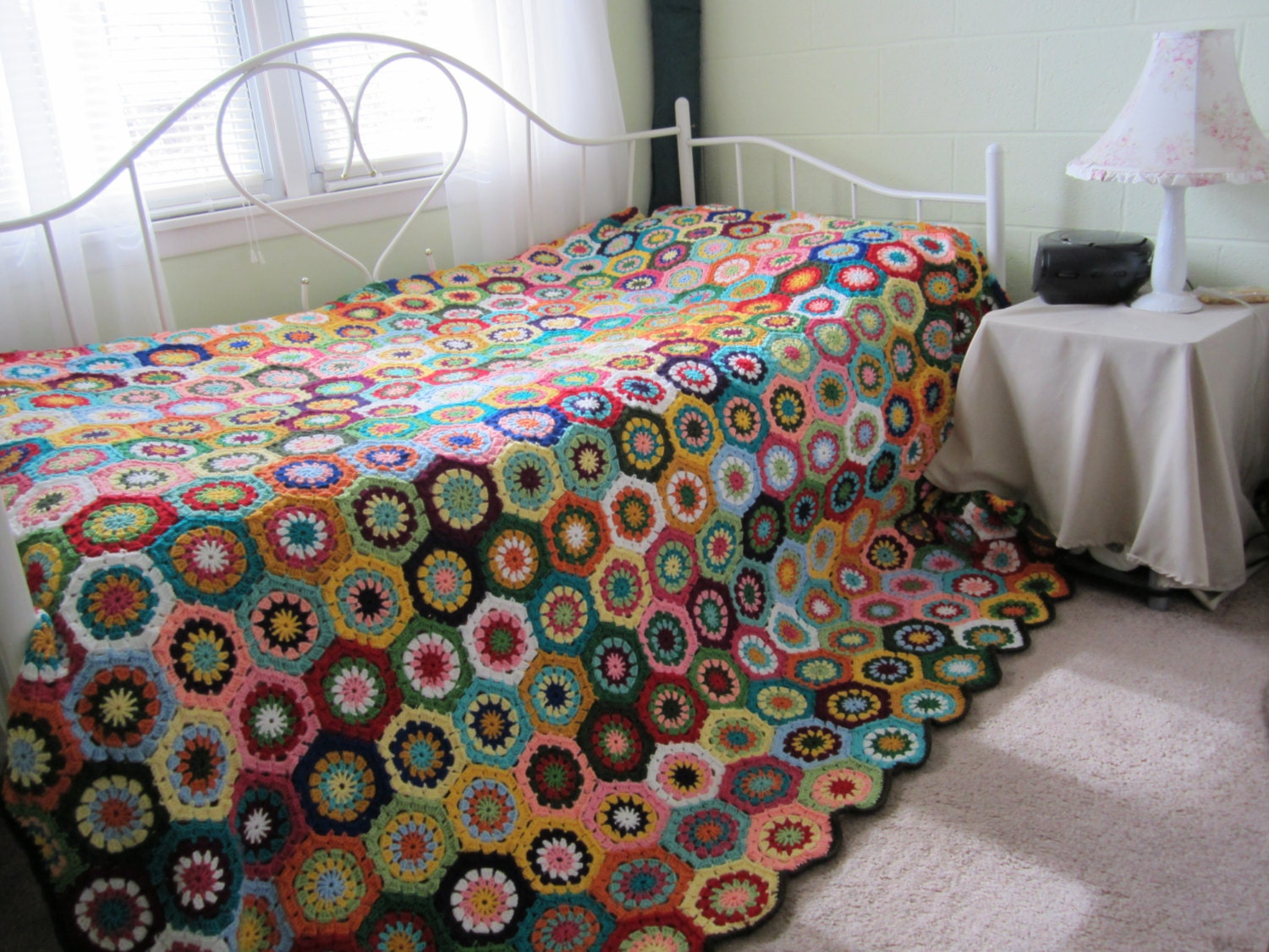 Crochet Queen Size Blanket Pattern : Granny Square Crochet Queen size Afghan by GalyaKireva on Etsy