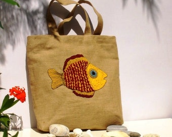 Yellow  fish summer  jute tote bag, handmade,applique,boho style, carry all, travel tote, beach bag, book bag,versatile