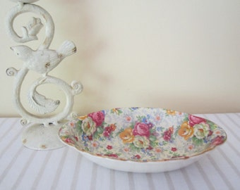 ANTIQUE 1930s LORD NELSON Rose Time chintz - candy, bon bon, trinket dish