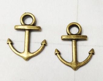 Anchor charms -30pcs Antique Bronze Anchor Charm Pendants 15x18mm E405-1