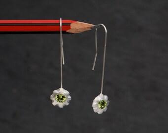 Dangle Earrings - Peridot Earrings - Peridot  Drop Earrings in Sterling Silver - Green Gemstone Earrings - FREE SHIPPING