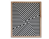 SALE 3D Op optical Illusion - framed - oil - painting - original - LIVnyc - contemporary -  fashion trend - geometric  - black and white