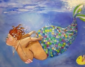 "Mermaid bbw art on canvas bathroom fine art print  8""x10"""