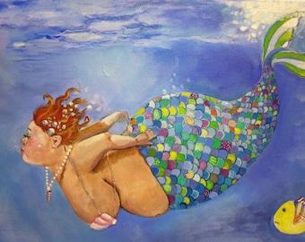 "Mermaid bbw art on canvas bathroom fine art print  8""x10"""