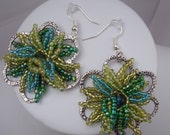 Daisy Power with Teal, Lime Green and Green Seed Bead Daisy Beadwork and a Metal Daisy