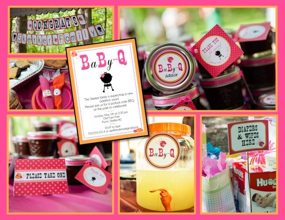 Baby-Q Coed Baby Shower (BBQ)- Whole Party Pack (pink, orange, lady bugs, baby q)