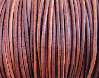 10 Yards Turkey Red Natural Dye Genuine Leather 2mm Round Cord