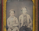 Young Brothers Daguerreotype sixth plate 1850 antique original photo 19th century 1800s