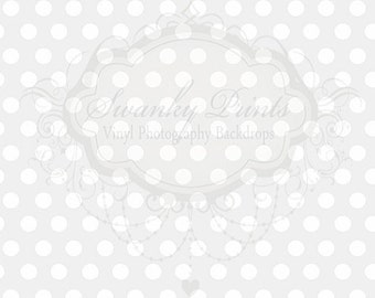 IN STOCK / Fast Shipping / 3ft x 2ft Vinyl Photography Backdrop / Light Gray Polka Dots