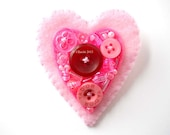 Brooch Pin Felt Heart large pink OOAK buttoned and beaded brooch number 76