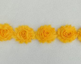 Shabby Chiffon Rose Trim, Golden Yellow, 1 yard