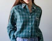 Studded Collar Pocket Plaid Shirt Vintage Abercrombie Green Blue FlannelMen Women Small Medium Large XL Extra Large