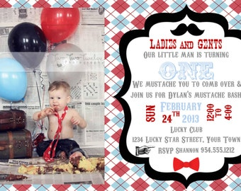 Little Man Mustache Bash Invitation Template 4X6