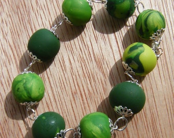 Green Spring bracelet with polymer clay handmade beads