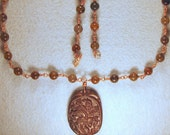 Dragon Vein Agate Necklace with Carved Dragon Pendant