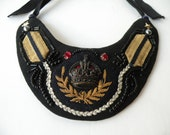 Vintage statement necklace, collar. Gold braid, crown & rubies