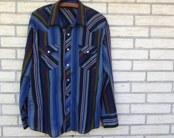 Vintage Western Pearl Snap Men's Striped 1980s Large