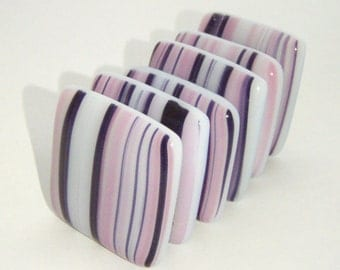 Fused Glass Magnets - Set of 6 - Pink, Black and White