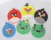 Fondant Angry Bird Inspired Cupcake Toppers